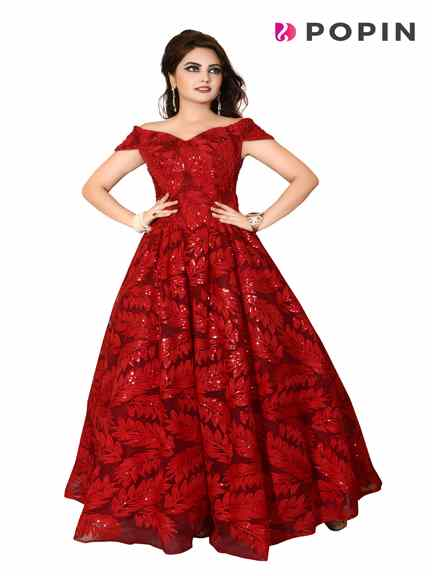 MARUN BALL GOWN ON RENT