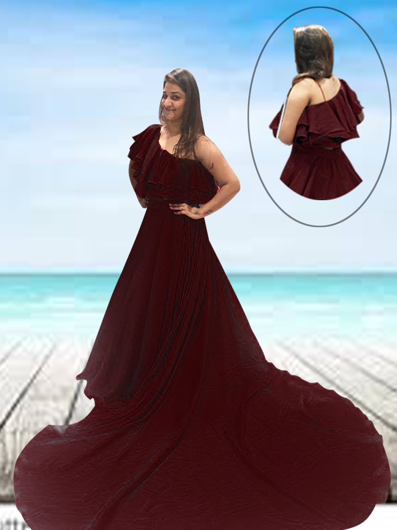 MAROON PRE-WEDDING CROP TOP AND SKIRT WITH TRAIL