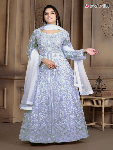 SKY BLUE HEAVY EMBROIDERED WEDDING GOWN