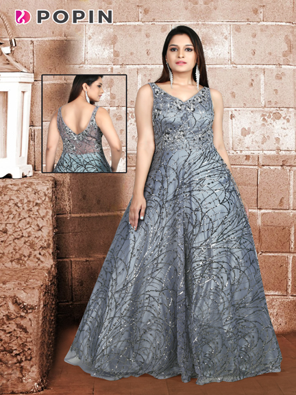 GREY PRINTED SELF GOWN