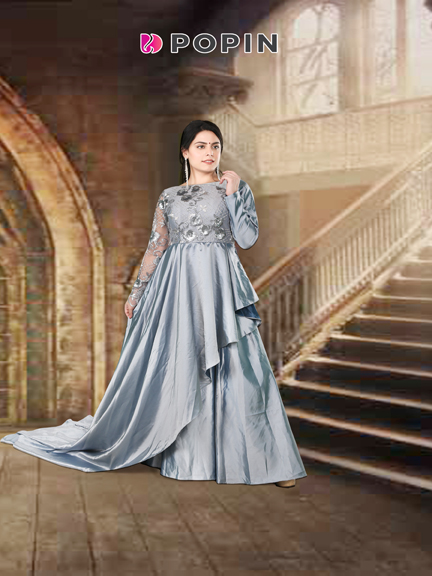 GREY SIDE TAIL PRE WEDDING SHOOT GOWN