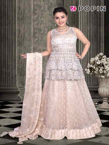 LIGHT PEACH DRIDAL GOWN WITH PAPLAM