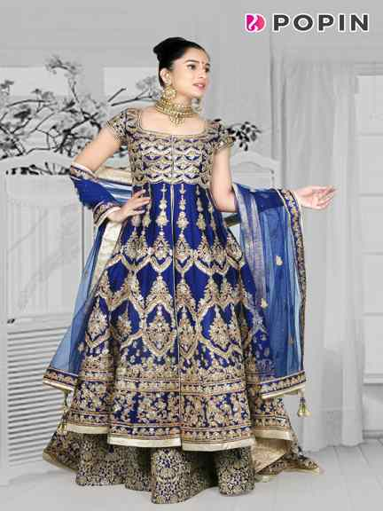 ROYAL BLUE BRIDAL INDO WESRERN WITH TRAIL