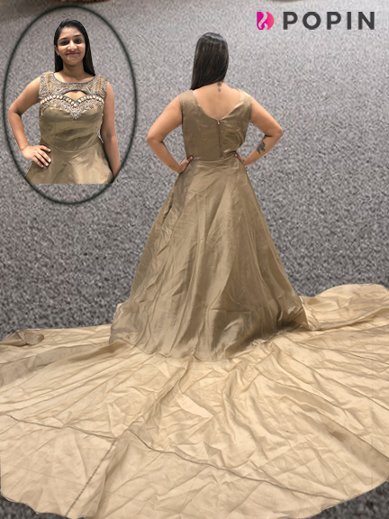 BROWN FRILL GOWN