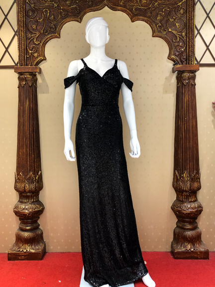BLACK OFF SHOLDER TIKKI GOWN