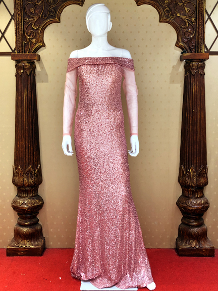 PURPAL SKIN FIT GOWN ON RENT