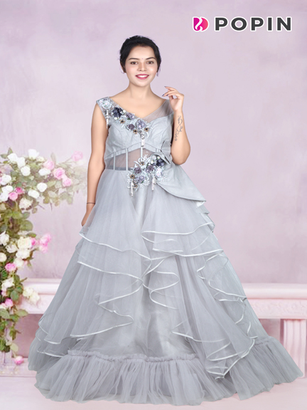 GREY  RUFFLE PATTERN GOWN