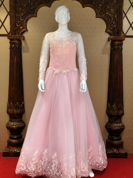 PINK FULL SLEEVE BAL GOWN
