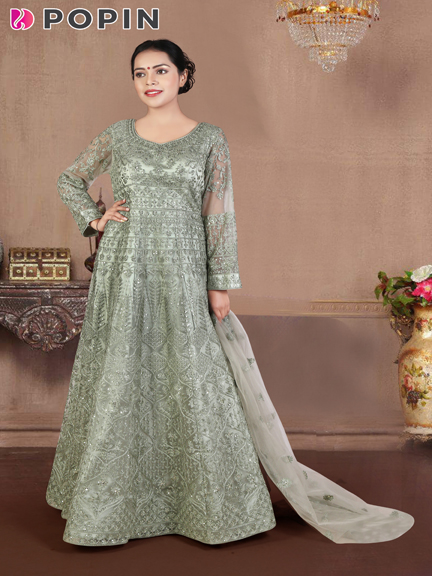 MOSS GREEN  EMBROIDERED GOWN