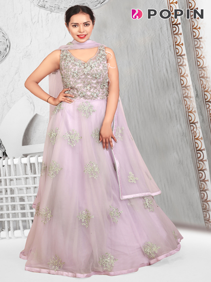 LIGHT PURPLE EMBROIDERED GOWN