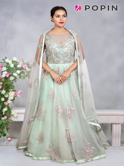 SEA GREEN EMBROIDERED GOWN