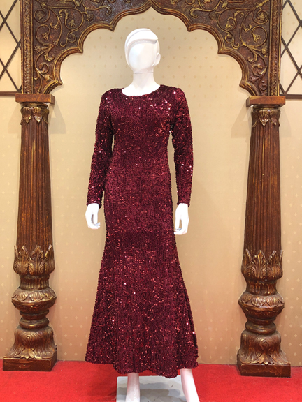 MAROON SEQUENCE WESTERN GOWN
