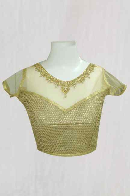 GOLDEN SHINING WITH  NET WORK BLOUSE