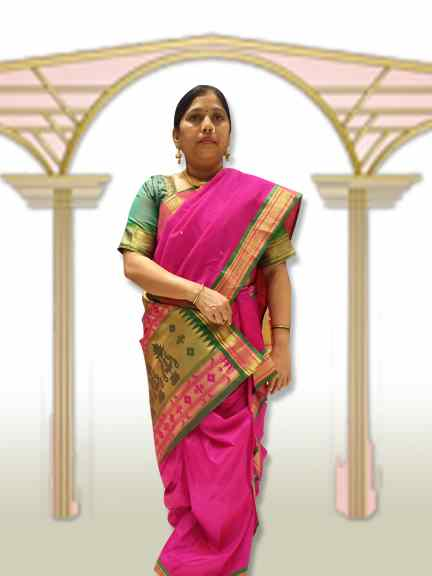 PINGA SAREE  PINK SAREE WITH GREEN PALAV