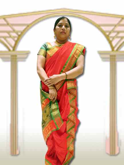 PINGA SAREE ORENGE SAREE WITH GREEN PALAV
