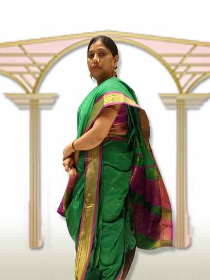 MARATHI GREEN SAREE WITH PURPLE PALAV